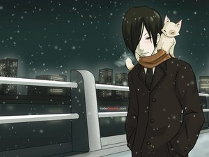 A boy and his cat, walk in the snowy night