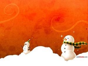 Snowmen celebrate Christmas