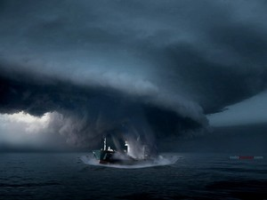 Boat in the center of hurricane