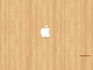 Apple logo on wood
