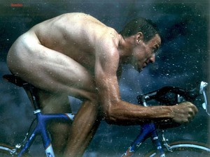 Lance Armstrong, naked on bicycle