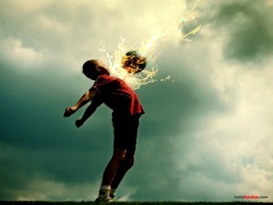 Child with ball in flames