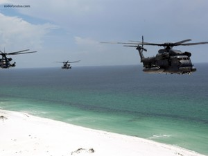 Chopper Helicopters over beach