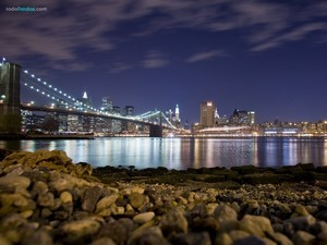 New York City and the Brooklyn Bridge