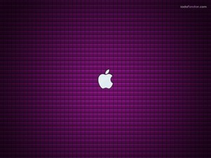 Apple logo on purple background
