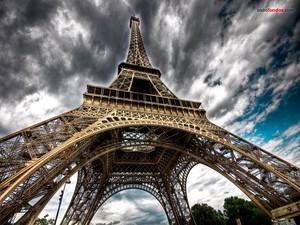 Eiffel Tower under a dark sky