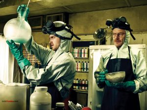 "Walter White and Jesse Pinkman ""cooking meth"""