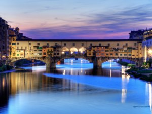 Ponte Vecchio, a medieval bridge over the River Arno in Florence (Italy)