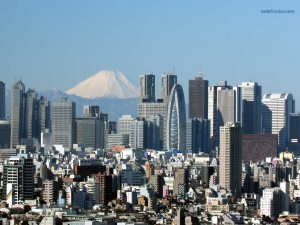 The city of Tokyo with the Mount Fuji in the background
