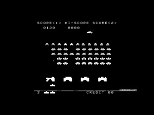 "Playing to legendary arcade ""Space Invaders"""