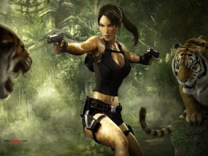 Drawing of Lara Croft in Tomb Raider