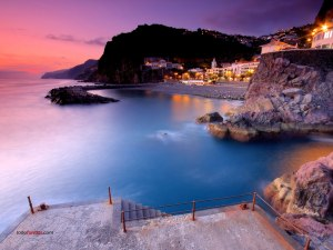 """Sunset at """"Ponta do Sol"""", a city on the island of Madeira"""