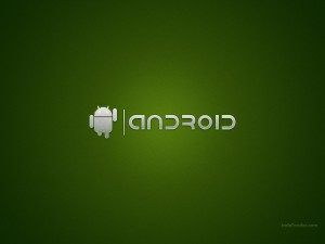 Android metal logo, on green background