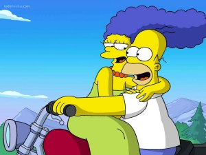 Homer and Marge Simpson in motorcycle