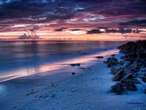 Sunset on Siesta Key Beach, in Sarasota, Florida