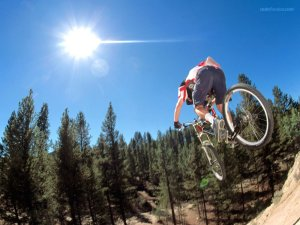 Jump in mountain bike