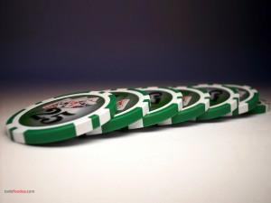 Green poker chips