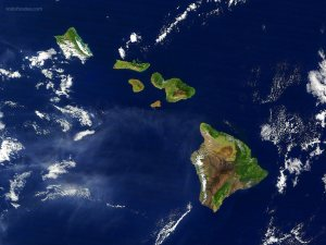 Hawaii viewed from a satellite