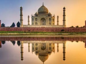 View of Taj Mahal at sunset