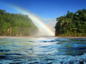 Rainbow come out of waters