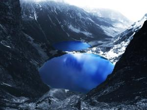 Blue lakes between mountains