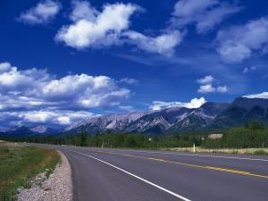 Road with mountains background