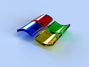 Windows logo in glass