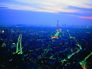 Panoramic view of Paris at dusk