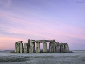 Stonehenge under a purple sky