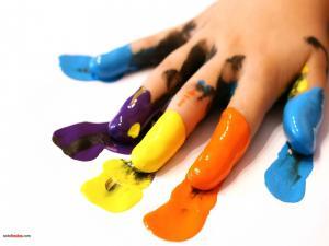 Paint in fingers