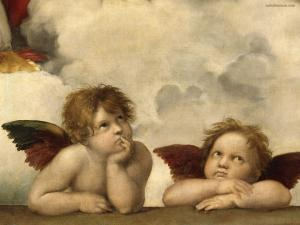 Couple of angels on the ceiling of the Sistine Chapel