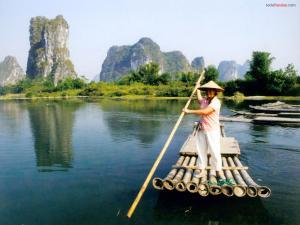 Bamboo Raft by the Li River (Guangxi, China)
