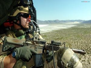 Soldier in helicopter