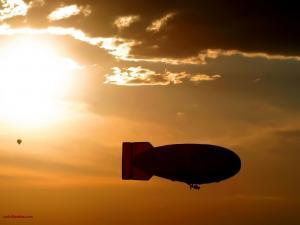 Airship at sunset