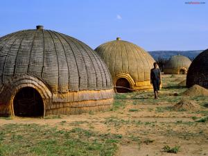 Zulu Huts, in South Africa