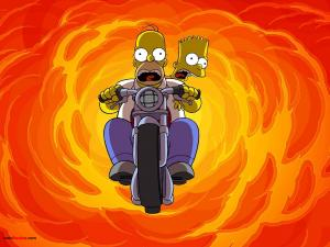 Bart and Homer Simpson in motorbike