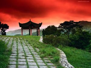Japanese temple under a red sky