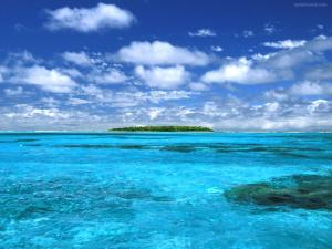 Island in blue waters