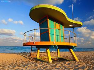 Lifeguard station in South Beach (Miami Beach, Florida)