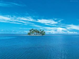 Atoll with palm trees