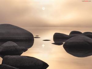 Rocks in calm waters