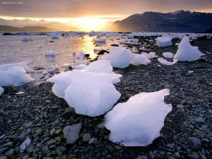 Pieces of ice on the shore