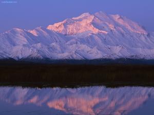 Snow mountain reflection