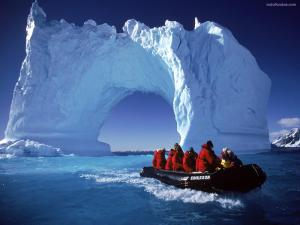 Sailing under a bridge of ice