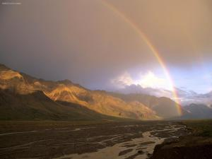 Rainbow from the base of the mountain
