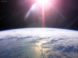 The Sun illuminating the Earth