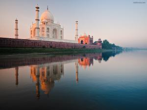 The Taj Mahal seen from the river Yamuna