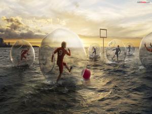 Aquatic football in the sea