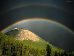 Rainbow bridge over the mountain