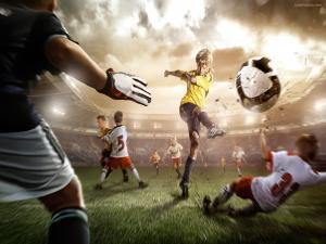 Child kicking for goal